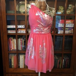 Silk Pink Chiffon Silver Foil Cocktail Formal